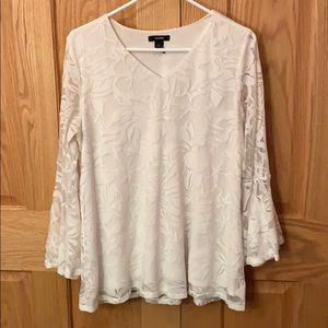 Alfani White Lace Blouse w/ Bell Sleeves